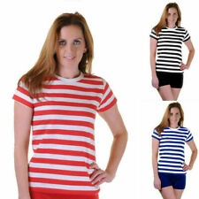 Ladies Stripped Shirt Fancy Dress Stripe short Sleeve Cotton Women's T shirts
