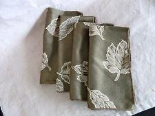 4 Moss Green Satin Dinner Napkins  Leaf Design in Cream