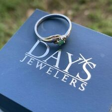 Days Jewelers - Natural Emerald Promise Ring SIZE 6 White Gold Band