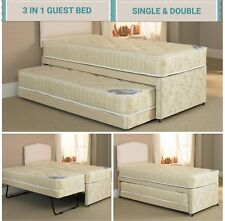 3FT SINGLE DOUBLE 3 IN 1 DIVAN GUEST BED WITH UNDER BED TRUNDLE  2 x MATTRESSES