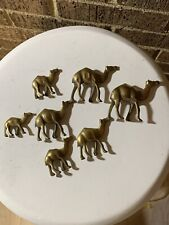 Vintage Caravan Lot Of 7 Miniature Brass Camels