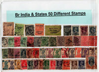 50pcs Different Old Antique 1895 - 1947 British India / Indian states ww2 Stamps