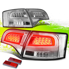 FOR 05-08 AUDI B7 8E 8H A4/S4 CHROME HOUSING CLEAR LENS 3D LED REAR TAIL LIGHTS