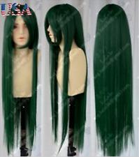 Women Long Dark Green Straight Hair Ladies Cosplay Party Heat Resistant Full Wig
