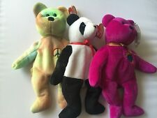 Ty Beanie Babies Lot Of 3 Millennium 1999 , Fortune 1997 And Peace 1996 B