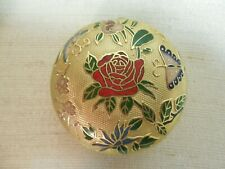 Vintage Cloisonne Enamel Gold Tone Roses Butterflies Covered Small Trinket Dish