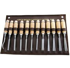 Wood Carving Chisel Woodturning Steel Long Tool Set 12Pc Handles Woodworking Kit
