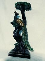 "Peacock Figurine Candle Holder Statue Resin Bird Tree 15"" Figure Candleholder"