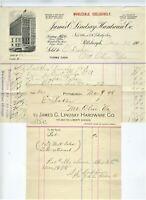 1898, 1900 PITTSBURG PENNSYLVANIA  BILLHEADS JAMES LINDSAY HARDWARE CO