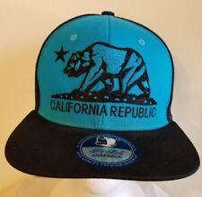 California Republic Snapback Cap Hat Cali Bear Flag Teal Blue Black Cap/Hat-Nwot