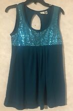 Women's Teal Blue Sequin Tank Top Piper and Blue Size L Cut Out Back
