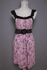 (Sz S) Kensie purple & black multi print ruffle sequin trim dress w/ pockets