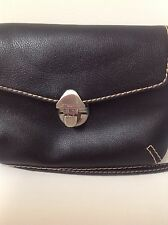 Liz Claiborne Ladies  small black purse 100% polyvinyl  metal clasp front EUC