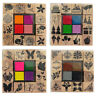 Set Of 12 Wooden Rubber Stamps & 4 Colour Ink Pads Assorted Themes Craft 0339