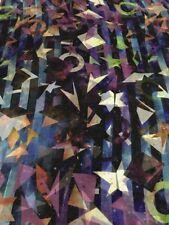 "Silk Scarf   100% Mulberry Silk Chiffon Geometric Aussie Crafted 61x198cm 24x78"""
