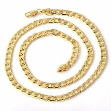 """Womens Cuban Chain Necklace Free Shipping 24"""" 14K Yellow Solid Gold Filled Mens"""