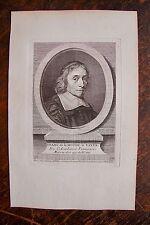 FRANC. DE LA MOTHE LE VAYER . PORTRAIT, GRAVURE ORIGINALE , 1760