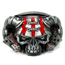 Cool Poker gambling Cards Casino Dice Clown Skull Skeleton Evil Punk Belt Buckle