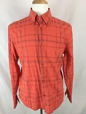 Armani Exchange Long Sleeve Shirt Mens Size M Button Front Plaid Orange