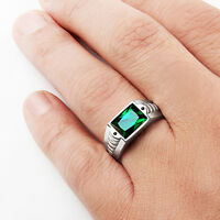 Mens Ring Green EMERALD with Black Onyx Accents in SOLID 925 Sterling Silver