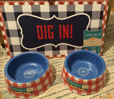 New listing Pioneer Woman Red Checked Pet Feeding Bowls Large Melamine With Mat Dig In