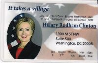 Hillary Rodham Clinton Drivers License fun fake i.d. card - Secretary of  State