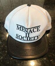 Supreme Menace II Society Leather hat snapback White SUPNY