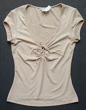Womens Small XOXO Short Sleeve Split Neck Shirt Tan