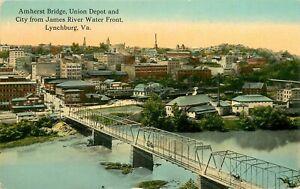 1915 Amherst Bridge, Union Depot and City, Lynchburg, Virginia Postcard