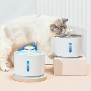 Pet Drinking Water Fountain Bowl Cat Dog USB Automatic Dispenser LED Filter 2.4L
