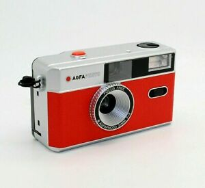 AGFA 35mm Film Reusable Compact Camera in Red & Silver + case (UK Stock) BNIB