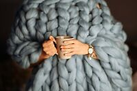Luxury Chunky Wooly Hand Knitted angels winter Blanket Sofa Weaving Warm Throws