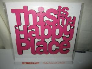 """Brand New Wood Cut Design Sign Magenta """"This is my Happy Place"""""""