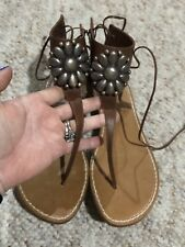26ac261023b448 MISS TRISH OF CAPRI ITALY LEATHER FLAT SANDALS METAL FLOWER ANKLE STRAP  TIES 9