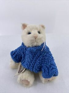 GANZ Cottage Collectibles Snowflake the Cat Plush Kitty White In Blue Sweater