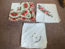 """Collectible Ladies Handkerchief Set 3 Christmas Print Embroidered 14"""" NICE"""