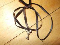DISNEY PARKS Mickey Mouse Key Black Ribbon Necklace