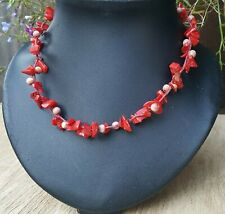 """Freedom Tree""""  Red Coral & Cats Eye Gemstone Necklace Hand Made"""