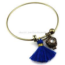 BB3 Bronze Flower Pearl Cage Blue Tassel Akoya Oyster Copper Bangle Bracelet