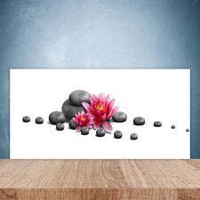 Crédence de cuisine en verre Panneau Paroi 100x50 Art Fleurs Pierres