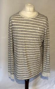Abercrombie & Fitch Men's T Shirt Grey Blue Striped L/S XL Cotton Blend