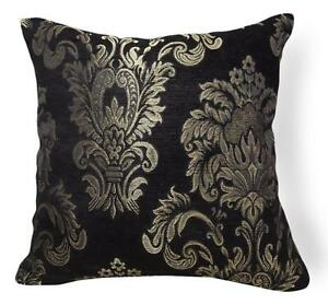 Wd52Aa Pale Gold on Black Damask Chenille Flower Throw Cushion Cover/Pillow Case
