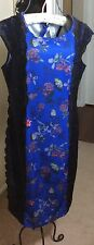 New AVON Women's Blue Dress Print &  Black Lace Midi - Medium