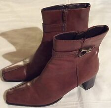 Ladies Tamaris Wortmann Anti Shock dark tan leather ankle boots size 40 EUR