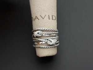 David Yurman Sterling Silver Double X Crossover Ring with Diamonds Size 5