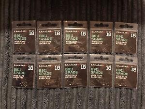 10 x Packs of 10 - Kamasan B911 Barbless Spade Specimen Hooks - Size 18