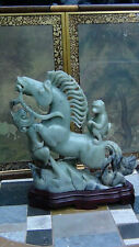 """EXTRA LARGE ANTIQUE CHINESE CARVED OLD JADE MASTER PIECE""""MONKEY RIDING HORSE"""""""
