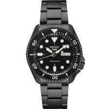 New Seiko 5 Automatic Black Dial Black PVD Steel Bracelet Men's Watch SRPD65