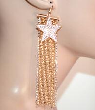 PENDIENTES colgantes mujer oro dorado strass hilos largos colgante estrella G35