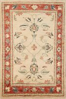 Traditional Style 3x4 Beige/Rust Oushak Peshawar Oriental Area Rug Hand-knotted